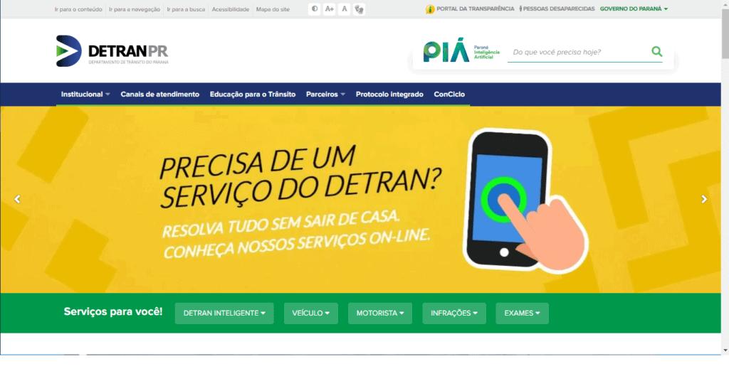 Site do Detran Paraná serviços online