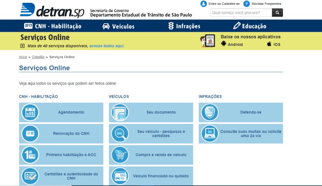 Site do Detran São Paulo serviços online