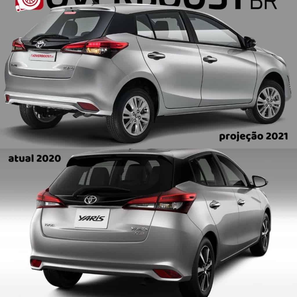 Comparativo da projeção do novo Toyota Yaris com a linha atual