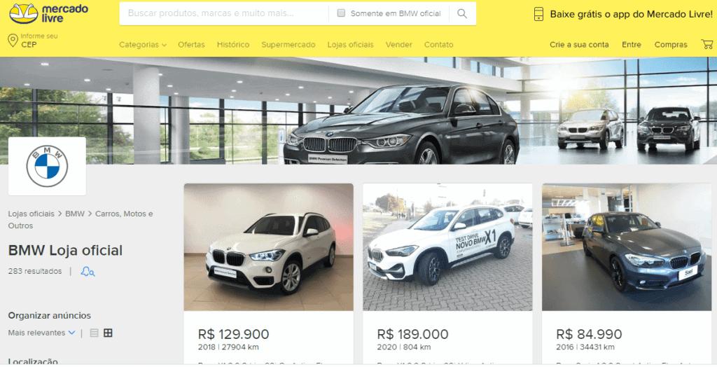 Imagem da loja virtual da BMW na página do Mercado Livre