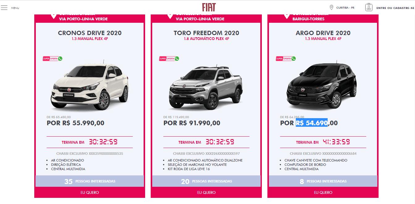 Ofertas publicados no site da Fiat