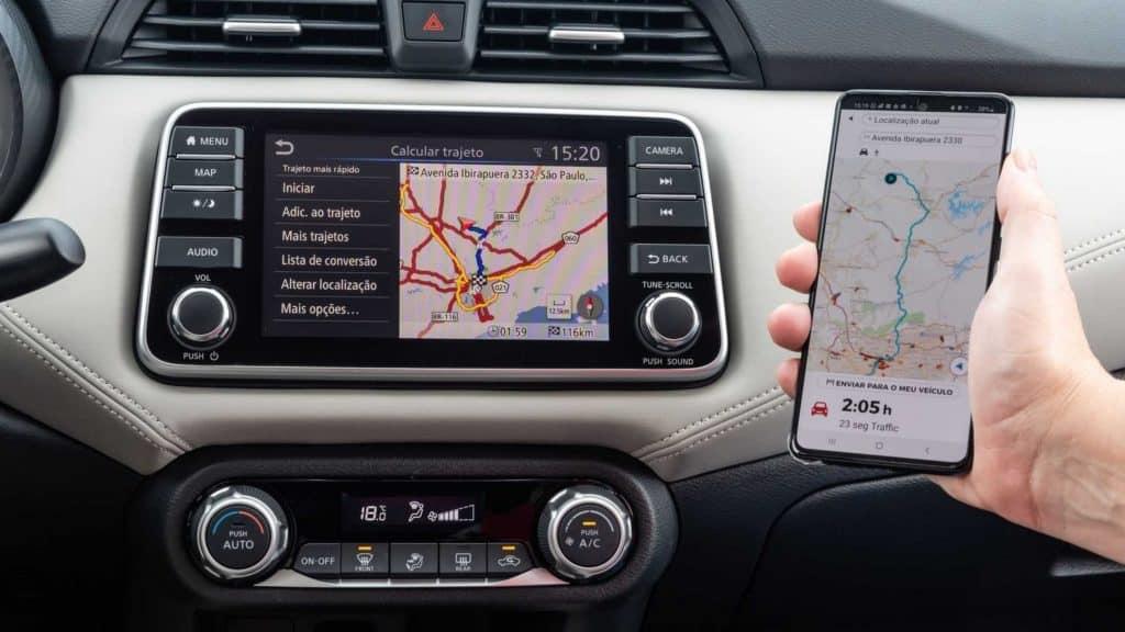 Central Multimídia com conexão Android Auto e Apple Carplay do novo Nissan Versa