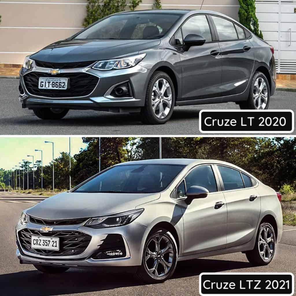 Comparativo entre Cruze 2020 e 2021