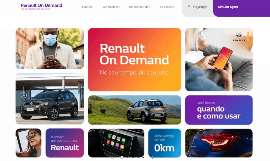 Imagem mostra o serviço Renault On Demand no site