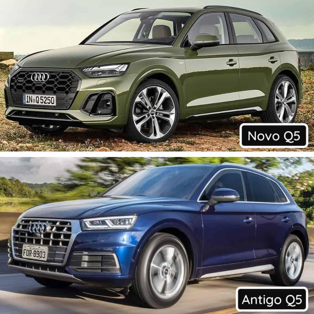 Comparativo frontal entre o novo Audi Q5 com o antigo