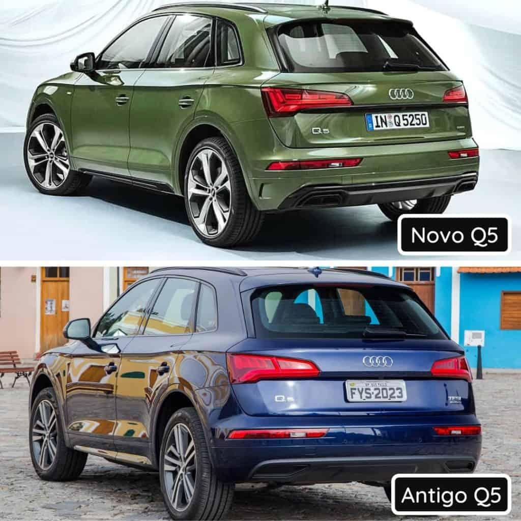 Comparativo de traseira entre o novo Audi Q5 com o antigo